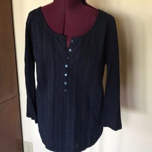 J. Crew Blue Linen Cotton Button Top S